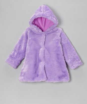 Lavender Faux Fur Hooded Swing Coat - Toddler