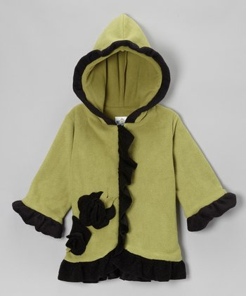 Olive & Black Fleece Anne-Marie Coat - Girls