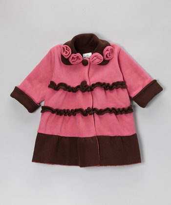 Watermelon & Brown Sweet Pea Coat - Infant, Toddler & Girls