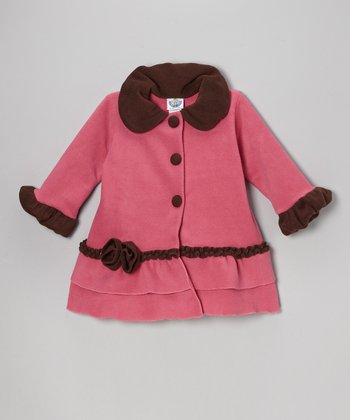 Watermelon & Brown Fleece Sweet Pea Ruffle Coat - Toddler & Girls