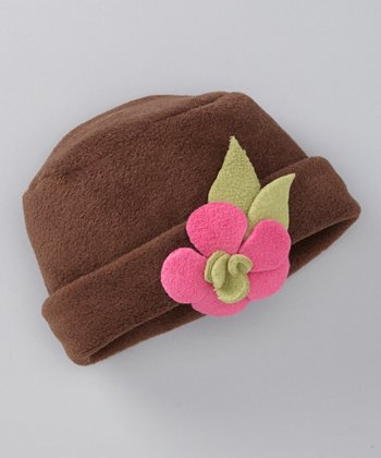Brown & Watermelon Flower Fleece Beanie