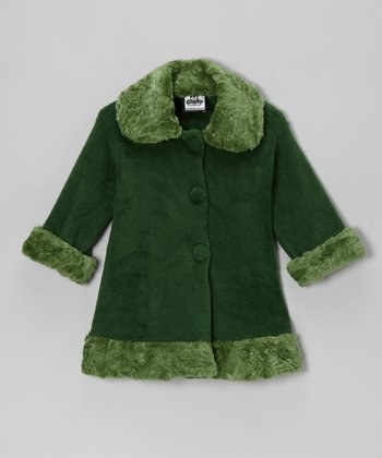 Green Fleece Faux Fur Sweet Pea Coat - Toddler & Girls