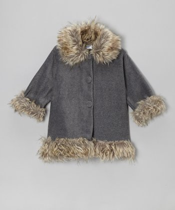Gray Fleece Faux Fur Sweet Pea Coat - Toddler & Girls
