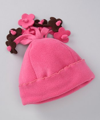 Brite Pink Fleece Flower Beanie