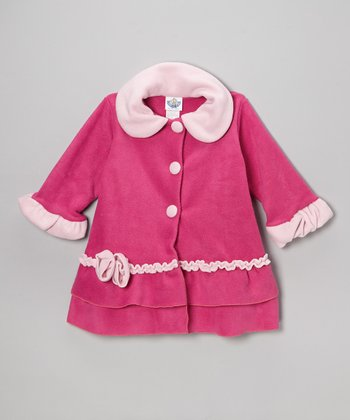Brite Pink Fleece Sweet Pea Ruffle Coat - Toddler & Girls