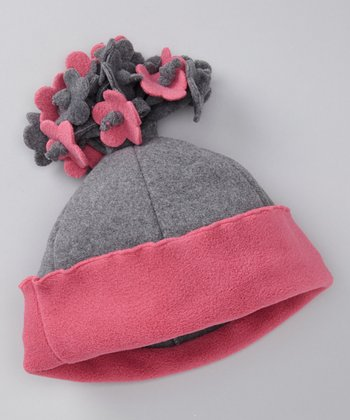 Gray & Brite Pink Fleece Flower Beanie