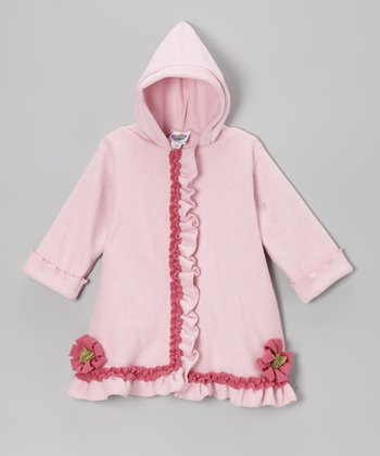 Baby Pink Fleece Hooded Swing Coat - Infant & Girls