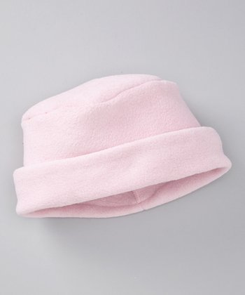 Baby Pink Fleece Roll-Brim Beanie