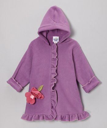 Lavender Fleece Hooded Swing Coat - Infant, Toddler & Girls
