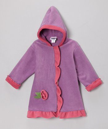 Lavender & Watermelon Fleece Hooded Swing Coat - Infant, Toddler & Girls