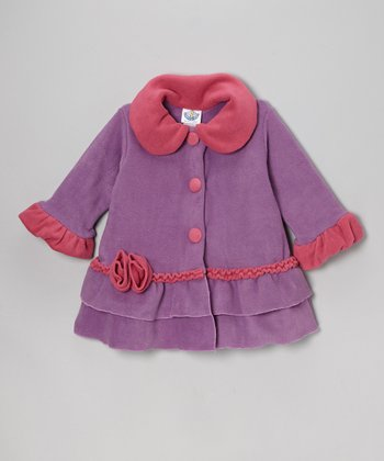 Lavender & Watermelon Sweet Pea Ruffle Coat - Toddler & Girls