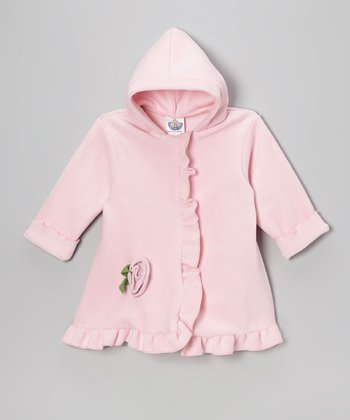 Baby Pink Fleece Hooded Swing Coat - Toddler & Girls