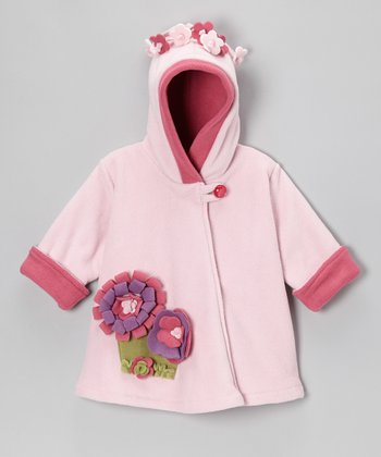 Baby Pink & Watermelon Fleece Wrap Swing Coat - Toddler & Girls