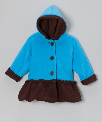 Turquoise & Brown Fleece Hooded Swing Bubble Coat - Infant