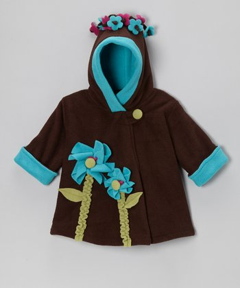 Brown & Turquoise Fleece Wrap Swing Coat - Toddler & Girls