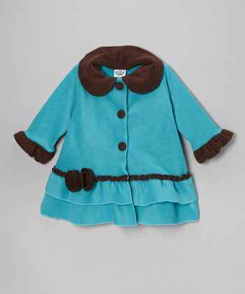 Turquoise & Brown Sweet Pea Ruffle Coat - Toddler & Girls