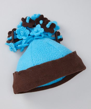 Turquoise & Brown Fleece Flower Beanie
