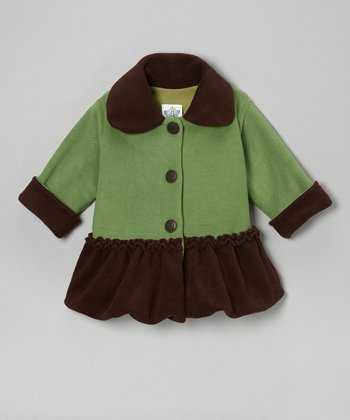 Green & Brown Sweet Pea Bubble Coat - Infant, Toddler & Girls
