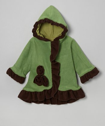 Green & Brown Fleece Anne-Marie Coat - Toddler & Girls
