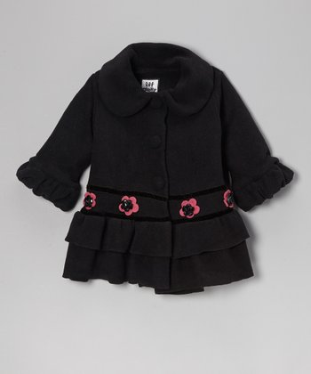 Black Fleece Sweet Pea Ruffle Coat - Infant, Toddler & Girls