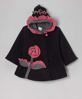 Black & Gray Fleece Wrap Swing Coat - Infant, Toddler & Girls