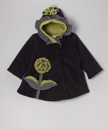 Black & Green Fleece Wrap Swing Coat - Toddler & Girls