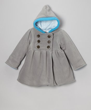 Gray & Turquoise Fleece Mary-Jayne Coat - Girls