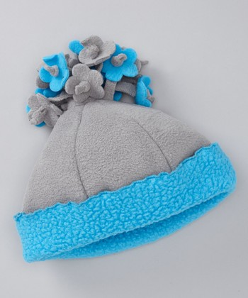 Gray & Turquoise Fleece Flower Beanie