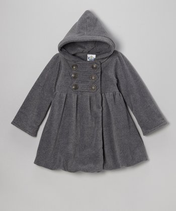 Gray Fleece Mary Jayne Bubble Coat - Girls