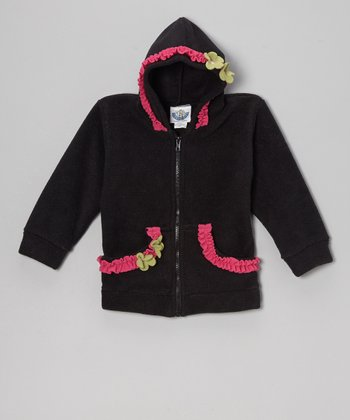Black & Brite Pink Fleece Zip-Up Hoodie - Infant