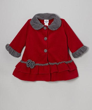 Cherry & Charcoal Fleece Sweet Pea Ruffle Coat - Girls