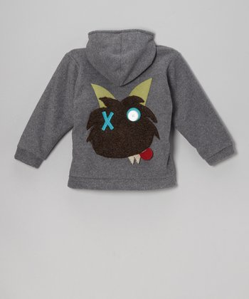 Charcoal Monster Fleece Zip-Up Hoodie - Infant & Kids
