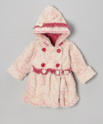 Peony Wave Faux Fur Ruffle Bubble Coat - Infant
