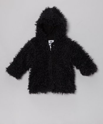 Black Cuddle Bear Hooded Swing Coat - Infant, Toddler & Girls