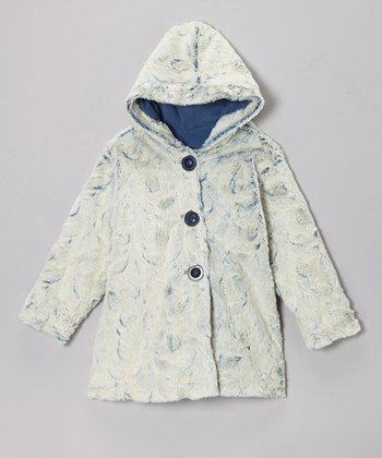 Denim Faux Fur Hooded Swing Coat - Infant & Toddler