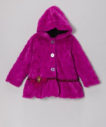 Violet Faux Fur Hooded Swing Coat - Infant & Girls