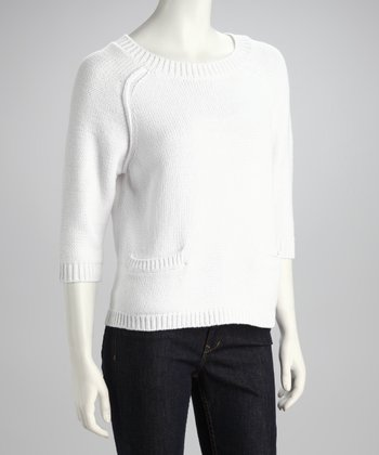 White Pocket Raglan Sweater