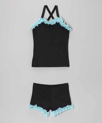Black & Aqua Ruffle Tank & Shorts - Toddler & Girls