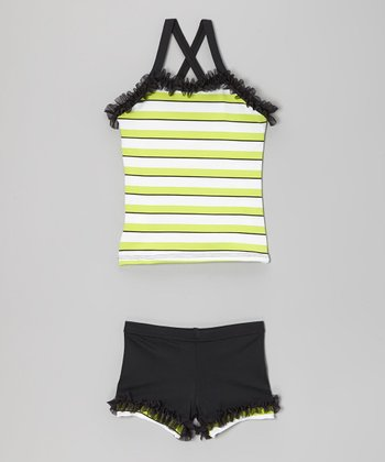 Black & Neon Green Ruffle Tank & Shorts - Toddler & Girls