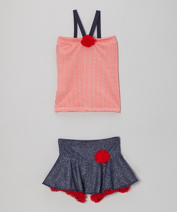 Red Gingham Tank & Black Skirt - Toddler & Girls