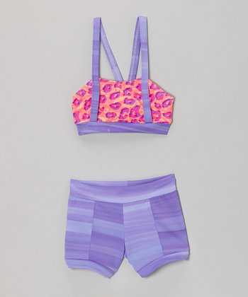 Lilac & Leopard Mackenna Crop Top & Shorts - Girls