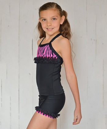 Black & Hot Pink Zebra Ruffle Tank & Shorts - Toddler & Girls