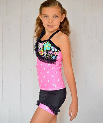 Pink & Black Polka Dot Ruffle Tank & Shorts - Toddler & Girls