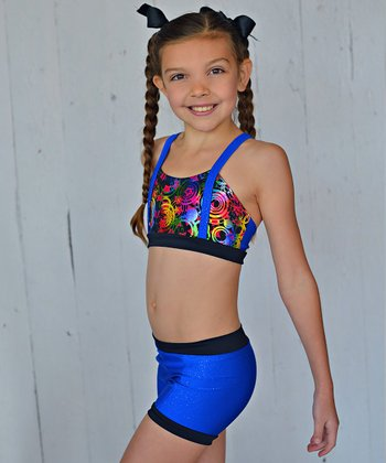 Royal Blue Kaleidoscope Crop Top & Shorts - Toddler & Girls
