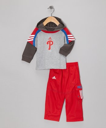 Gray Phillies Layered Hooded Top & Cargo Pants - Infant