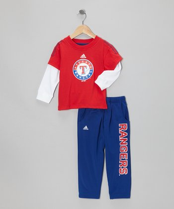 Red Rangers Layered Top & Blue Pants - Toddler