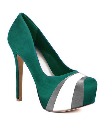 Teal & Gray Suede Pump - Women