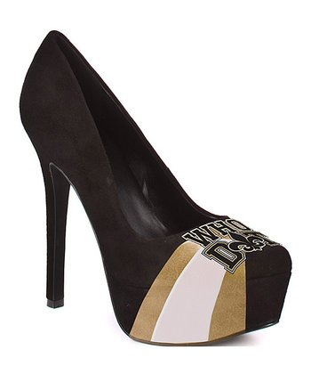 New Orleans Black & Gold Suede Pump