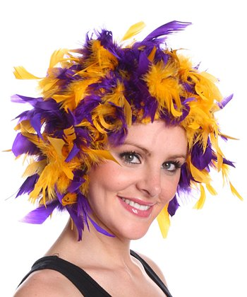 Gold & Purple Chandelle Feather Wig