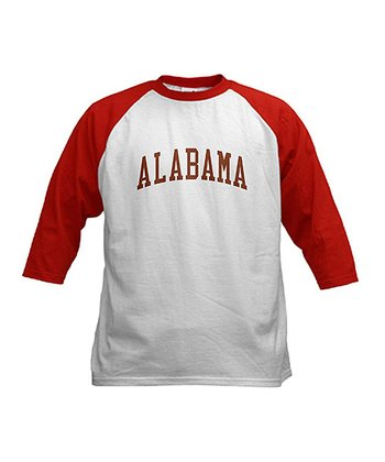 Red & White Vintage 'Alabama' Raglan Tee - Kids